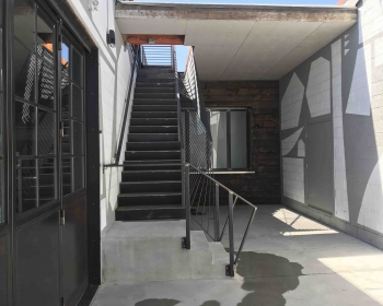 Custom Bi-folding Door and Stairs with Sculptural Guardrail, Space Annex Gallery, Denver, 2019