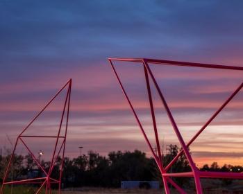 """Double 'C' Gate"", Powder Coated Steel, 9'x4'x22', Denver, CO 2020 Photo: Jess Blackwell Photography"