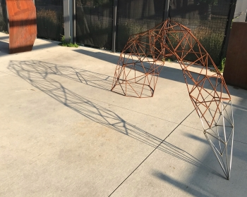 """""""Pointed Arch"""", Steel and Stainless Steel, 48""""x108""""x30"""", Space Gallery, Denver, CO 2018"""