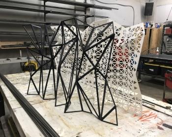"Nesting Panels, Powder Coated Steel, 40""x30""x10"", Denver CO, 2015"