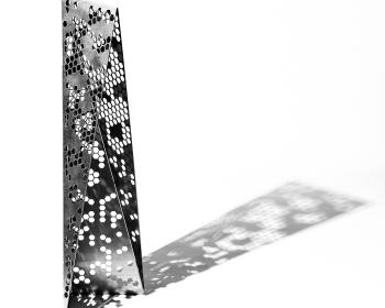 """Honeycomb Mini-Monolith"", Steel, 48""x18""x18"", 2018, Photo Credit: Caleb Santiago Alvarado"