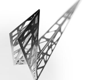 """Intersecting Mini-Monolith"", Steel, 48""x18""x18"", 2018, Photo Credit: Caleb Santiago Alvarado"