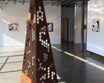 """""""Honeycomb Monolith"""", Steel, 24""""x24""""x96"""", Space Gallery, Denver, CO 2018"""