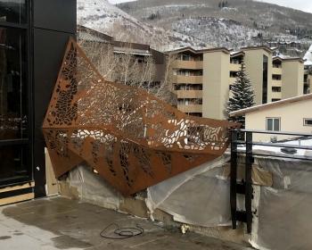 """Infinite Pattern Mountain Panel"", Cor-ten Steel, 12'x8'x2', Vail, CO 2020"