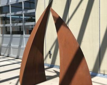 """""""Finned Gate"""", Cor-ten Steel, 60""""x90""""x90"""", Space Gallery, Denver, CO 2018"""