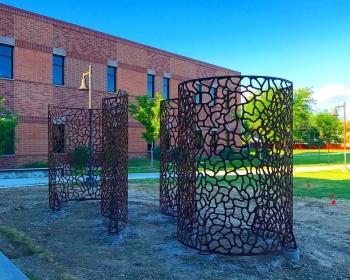 """Infinite Esses"", Steel, 22'x9'x'12', Northwest College, Powell, WY 2018"