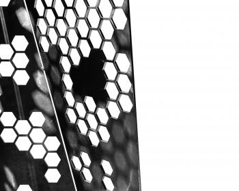 """Honeycomb Mini-Monolith"" (detail), Steel, 48""x18""x18"", 2018, Photo Credit: Caleb Santiago Alvarado"