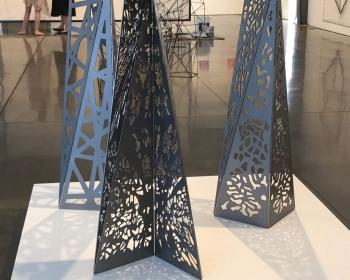 """Patterned Mini-monoliths"", Steel, 18""x18""x48"", Space Gallery, Denver, CO 2018"