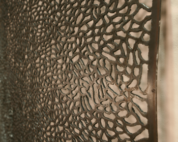 "Infinite Pattern Panel Number One, Steel and Ink, 4'x8'x6"", Private Collection, Bloomfield Hills MI, 2013"