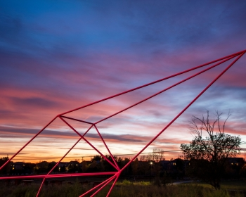 """Double 'C' Gate"", Powder Coated Steel, 9'x4'x22', Denver, CO 2020 Photo: Jess Blackwell Photography"