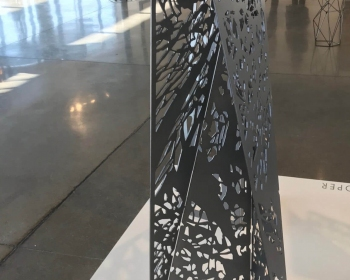 """Canopy Pattern Mini-monolith"", Steel, 18""x18""x48"", Space Gallery, Denver, CO 2018"