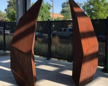 """Facet Gate"", Cor-ten Steel, 30""x95""x95"", Space Gallery, Denver, CO 2018"