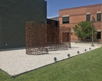 """Infinite Esses"", Steel, 22'x9'x'12', Northwest College, Powell, WY 2018"