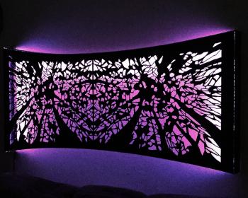 "Mirror Panel, Light, Resin, and Steel, 80""x36""x10"", Denver CO, 2014"
