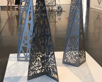 """Patterned Mini-monoliths"", Steel, 18""x18""x48"", Space Gallery, Denver, CO 2018"